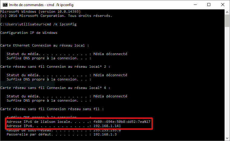 Obtenir son adresse ip locale avec Ipconfig (Windows 10)