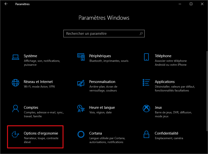Options d'ergonomie accessibles via les paramètres de Windows 10