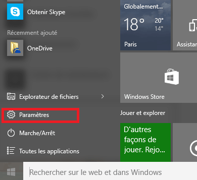 Menu démarrer sous Windows 10