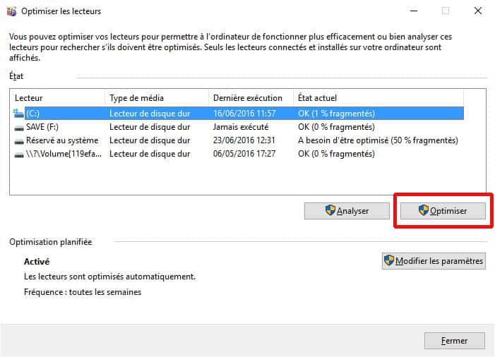 Défragmentation sous Windows 10
