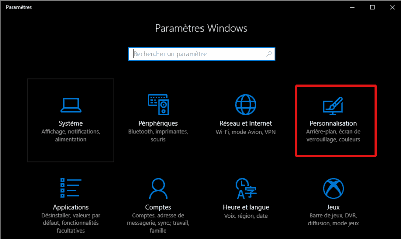 fenêtre Paramètres Windows(Windows 10)