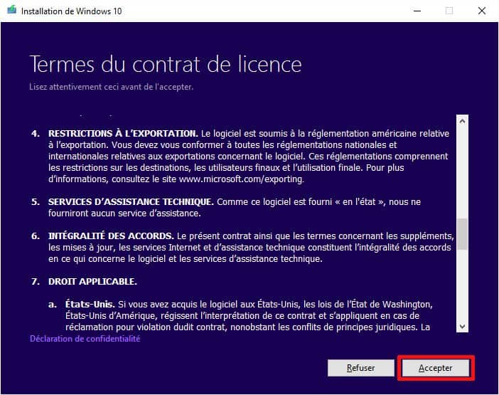 Accepter la licence de Windows 10