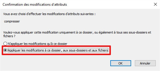 Fenêtre Attributs de fichier (Windows 10)