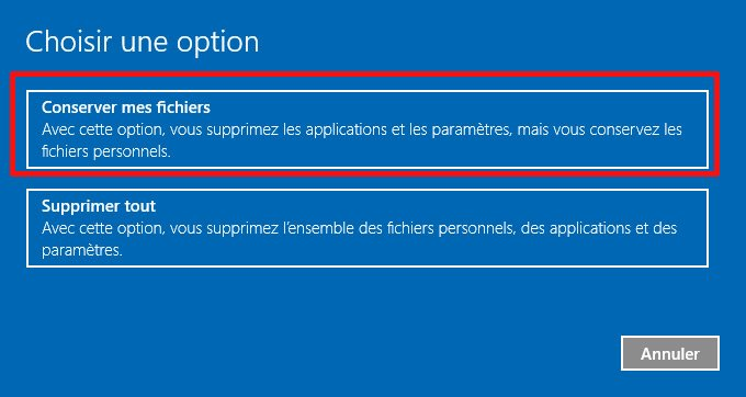 Comment réinitialiser Windows 10 ?