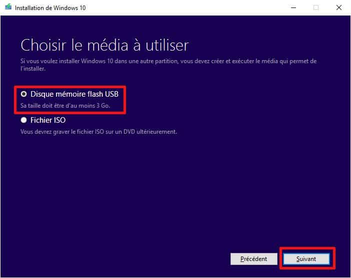 Sélection du média d'installation de Windows 10