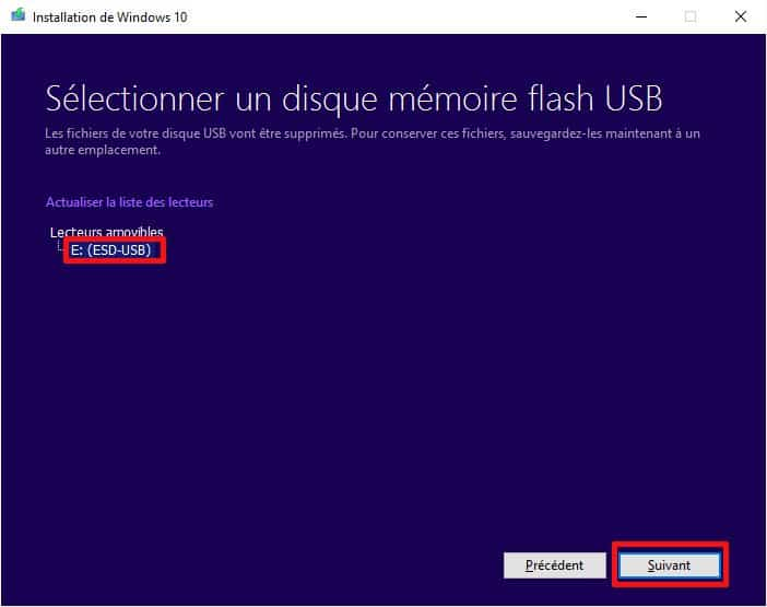 Selection disque USB pour installation Windows 10
