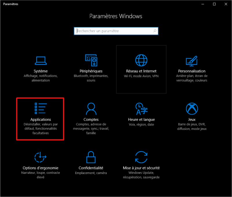 Applications - Paramètres Windows 10