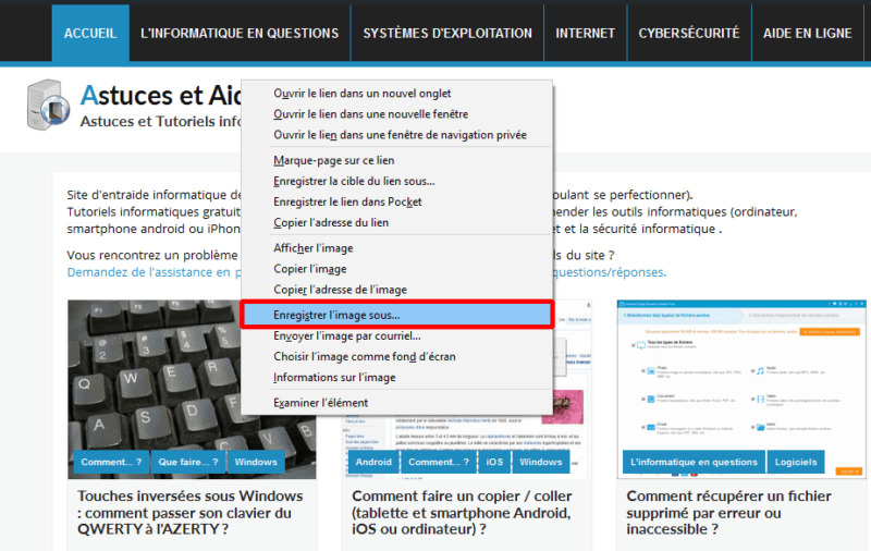 Enregistrer l'image sous (Windows 10)
