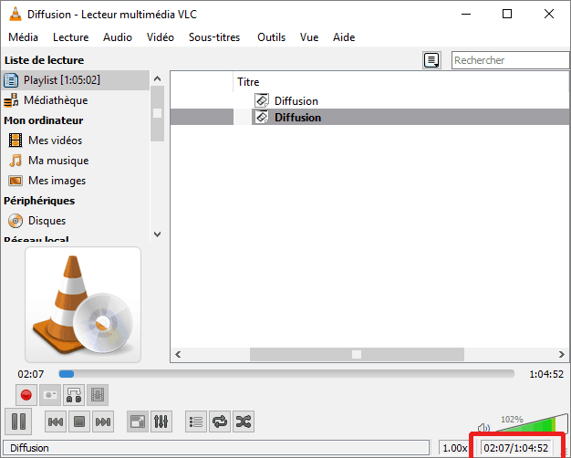 Temps extraction audio (VLC)