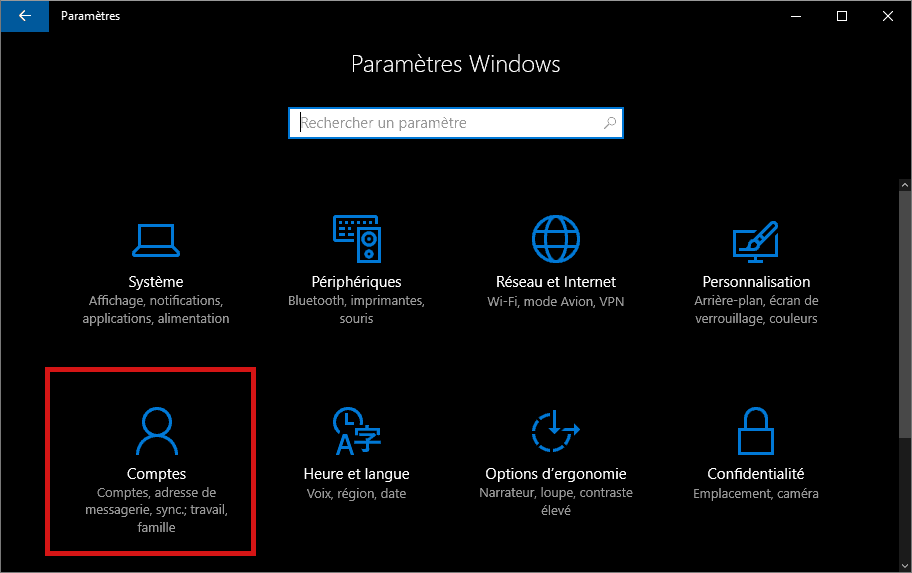 Comptes dans Paramètres Windows (Windows 10)