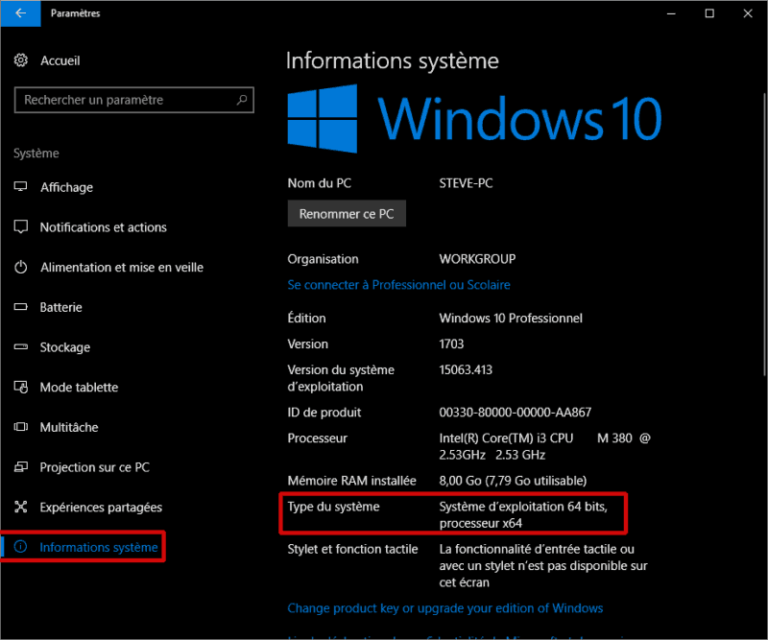 Informations système (Windows 10)