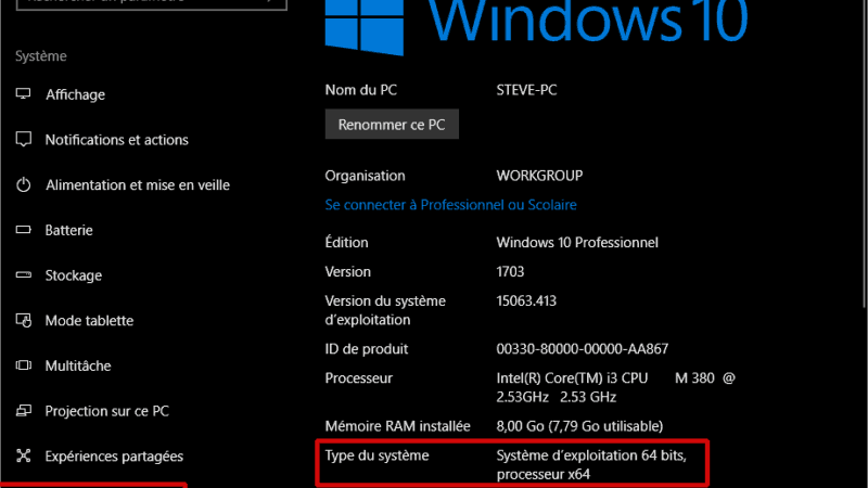 Comment connaitre la version de Windows installée ? Windows 32 bits ou 64 bits ?