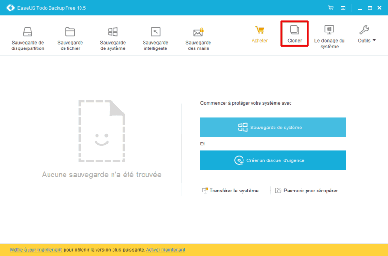 Accueil EaseUS Todo Backup Home