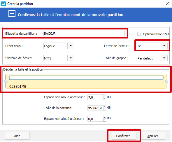 Options du partitionnement du disque dur