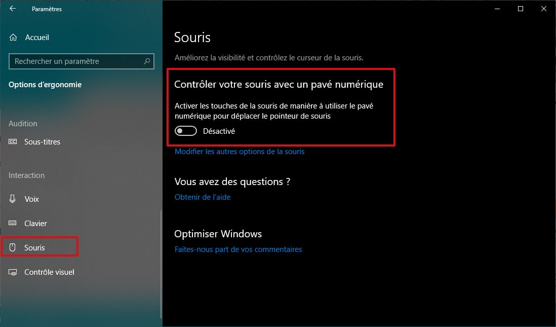 Activation du pavé numérique de Windows 10 au démarrage via les options d'ergonomie
