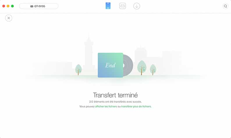 Transfert Android terminé