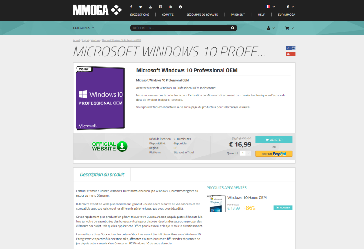 Clé de produit Windows 10 pas cher : license pour Windows 10