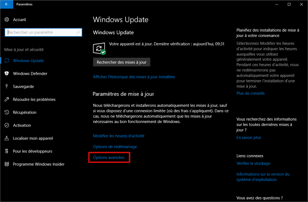 Options avnces de Windows Update (windows 10)