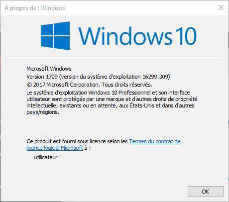 Version de Windows 10 utilisée