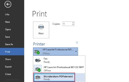 Imprimer au format PDF sous Windows