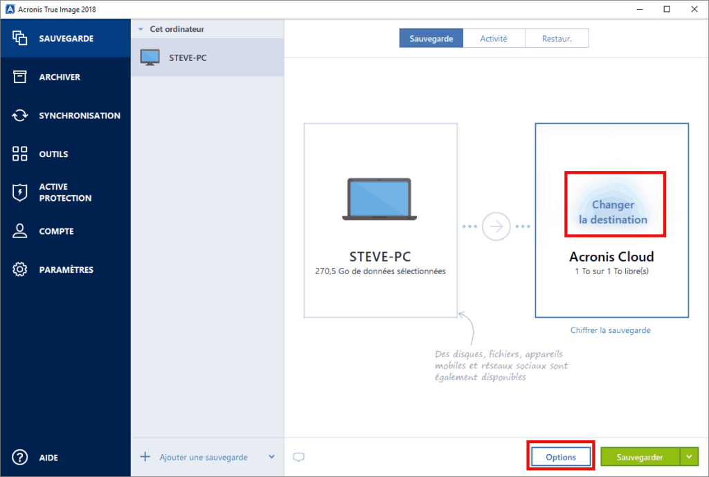 Sauvegarde de Windows 10 avec Acronis True Image 2018