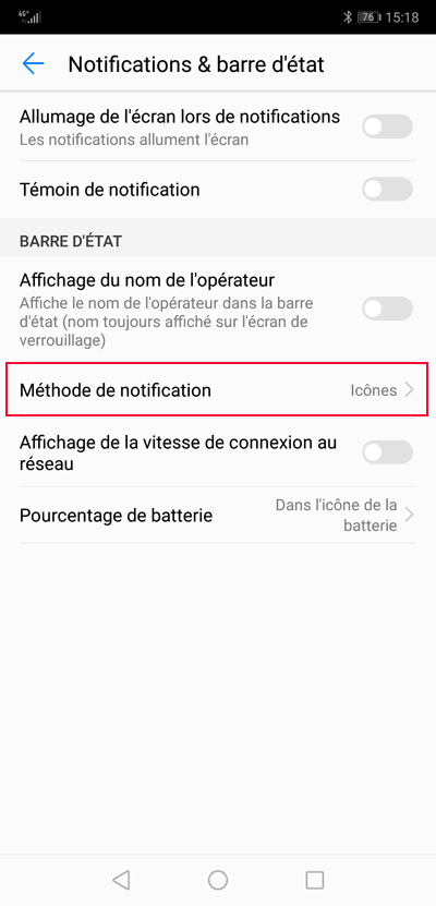 Méthode de notification Android