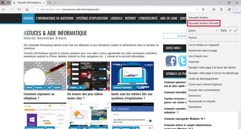 Activer le mode InPrivate de Microsoft Edge