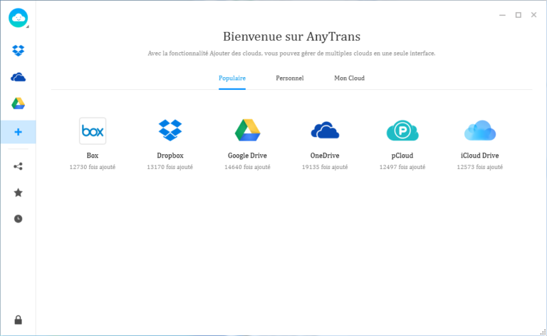 Interface du logiciel de gestion de Cloud, Anytrans pour Cloud