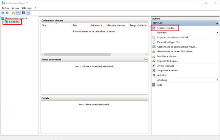 L'interface du gestionnaire Hyper-V de Windows 10