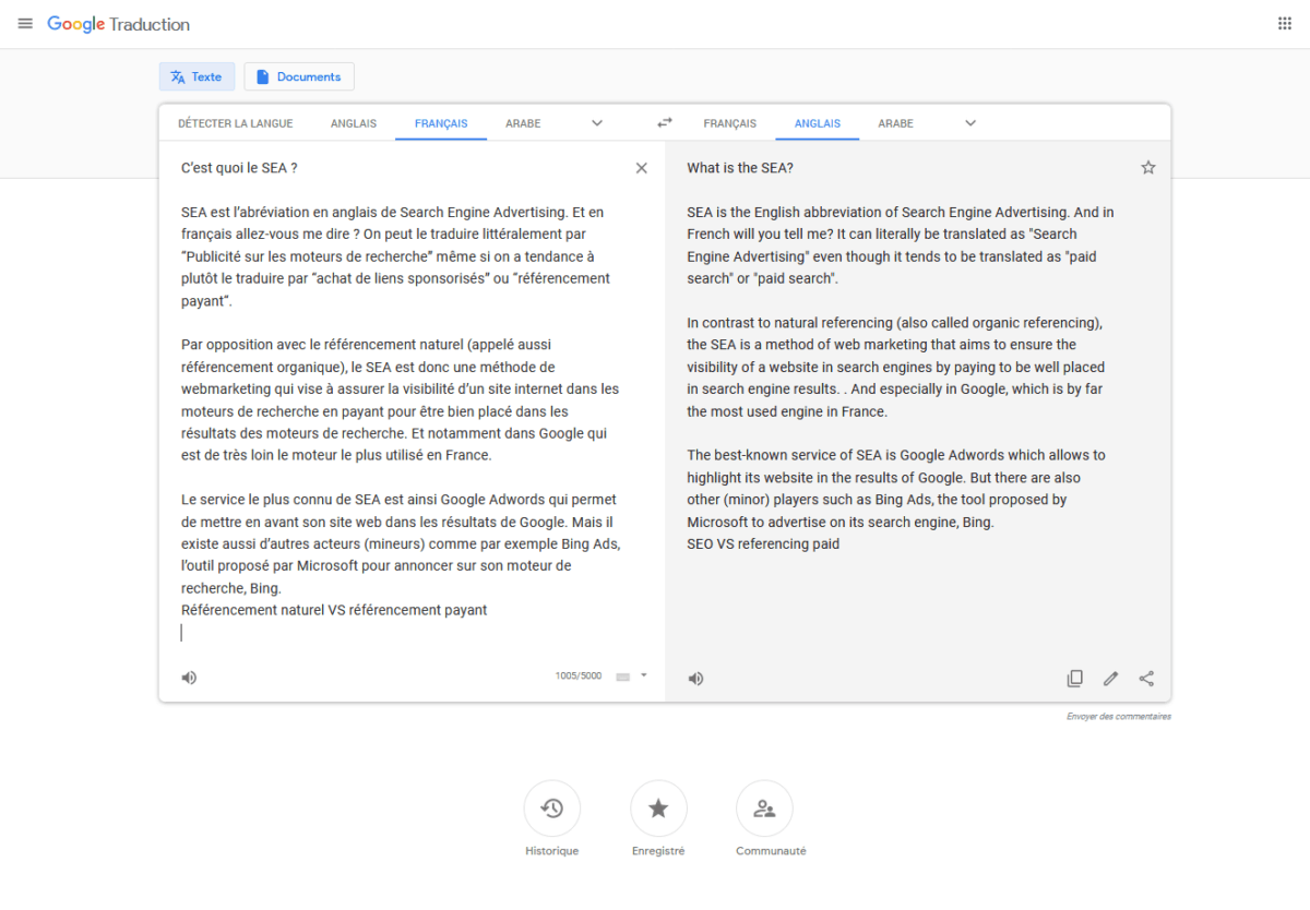 Interface de Google Traduction