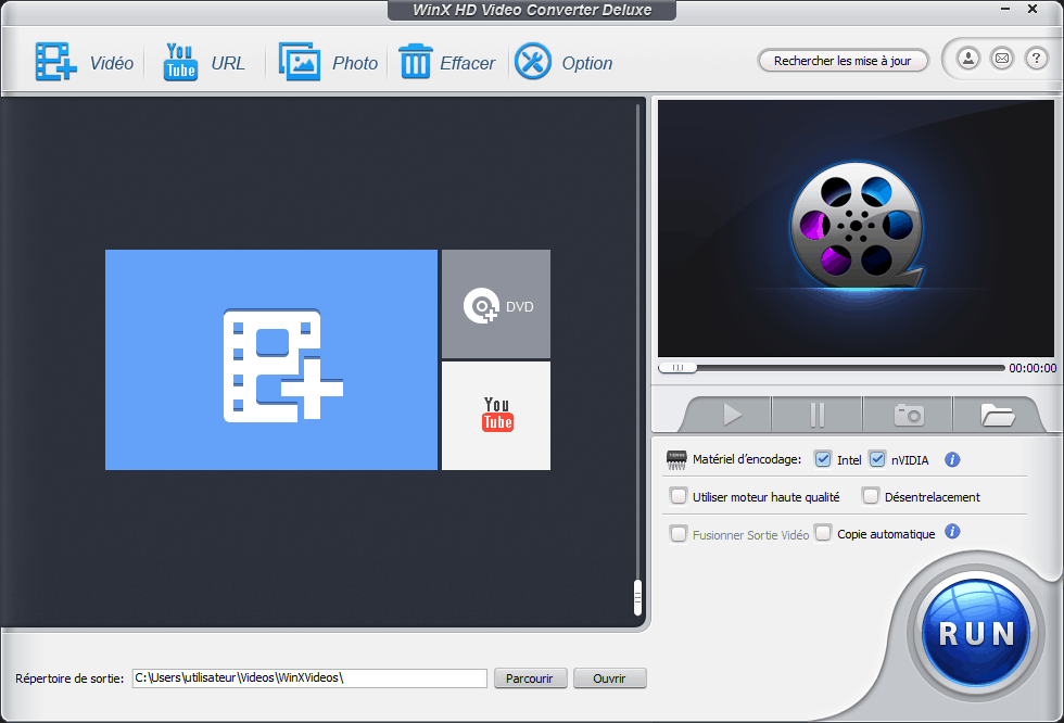 Interface du logiciel de conversion vidéo WinX HD Video Converter Deluxe