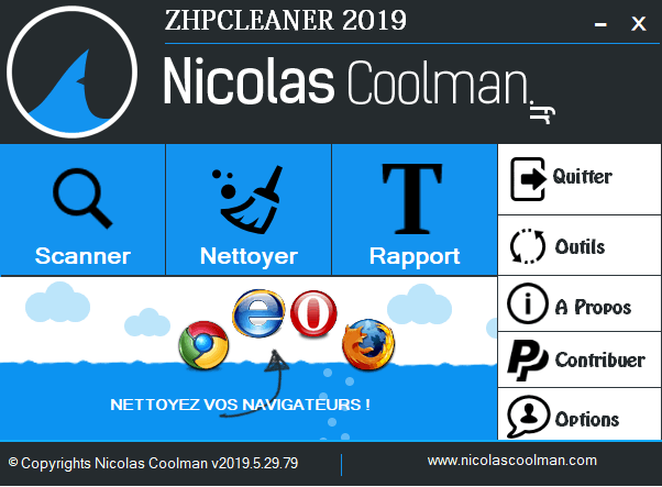 Interface du logiciel antimalware ZHP Cleaner