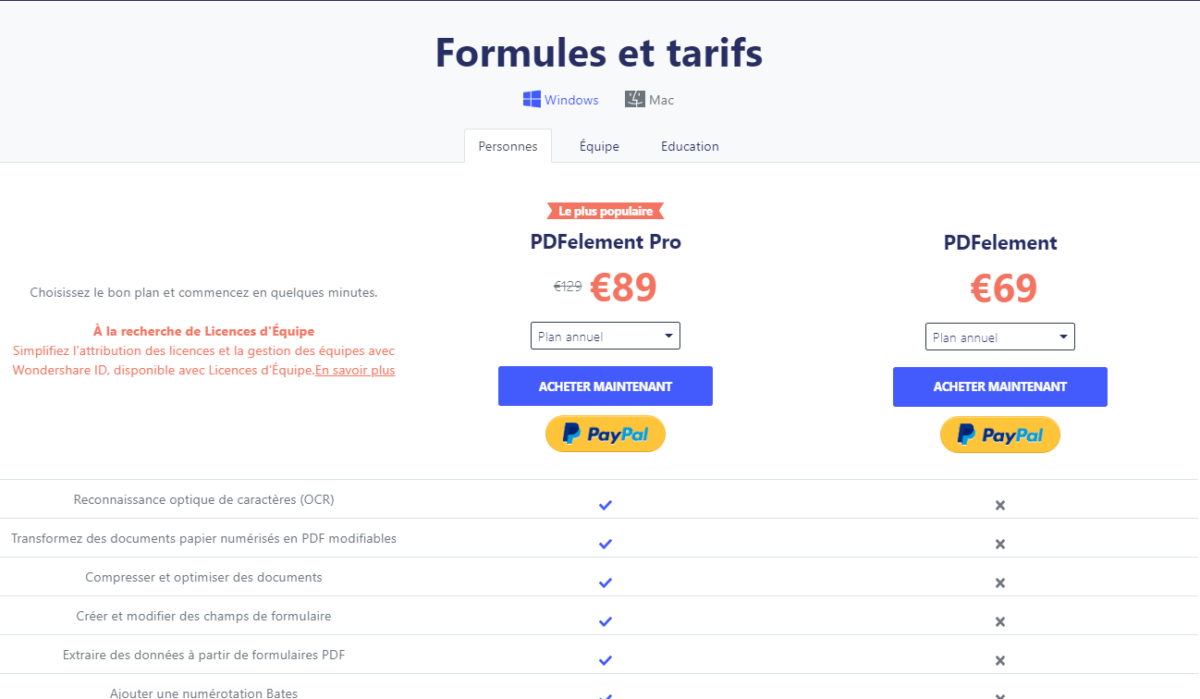 Comparatif des versions de PDFelement