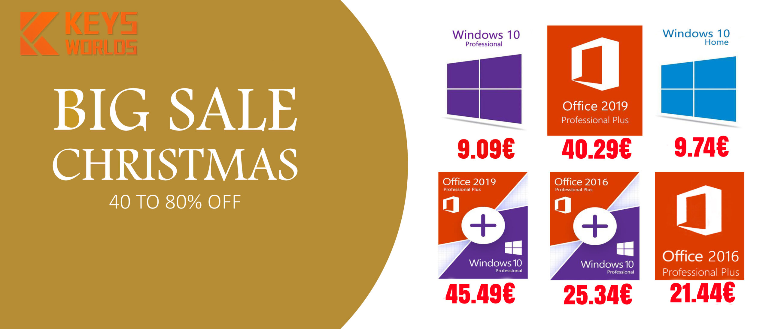 Promotion de Noël pour les licences Windows, Office 2016 Pro et Office 2019