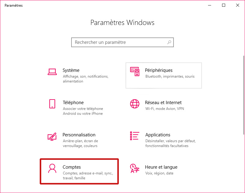 Paramètres de Windows 10