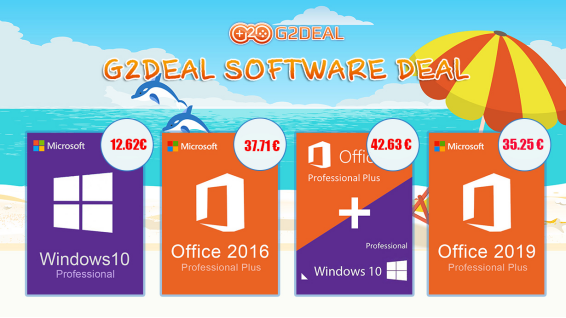 Les promotions d'été de G2Deal sur les licences Windows 10 Pro et Office