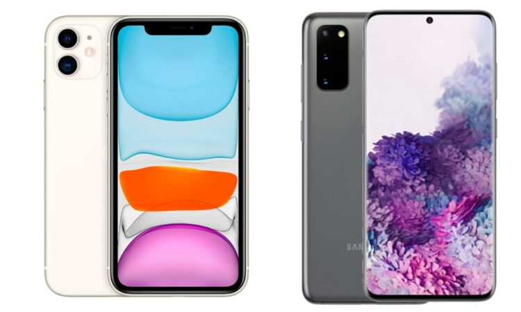 L'iPhone 11 et le Samsung Galaxy S20