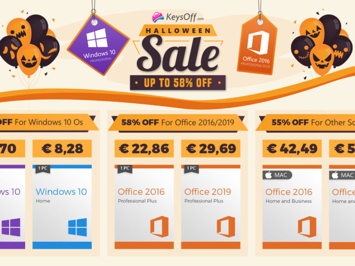 Vente d'Halloween sur Keysoff.com : Windows 10 pro à seulement 5,80 € par PC, Office 2016 Pro à 22,86 € !