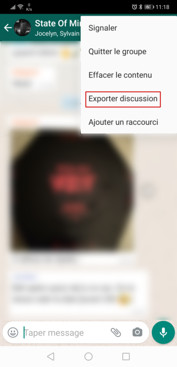 Exporter une discussion WhatsApp